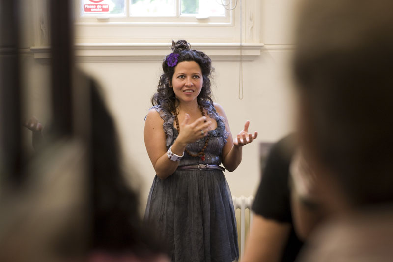 Eliana Parry discussing work during artist talk at Walthamstow Central Library