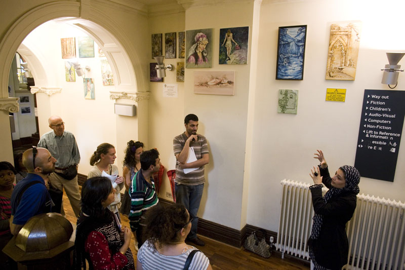 Tayaba Gondal discussing work during artist talk at Walthamstow Central Library