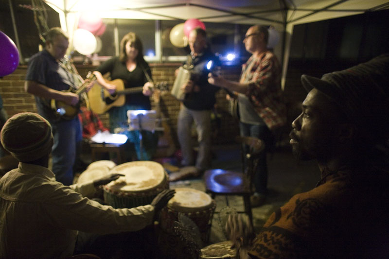African drummers with Bluegrass pickers