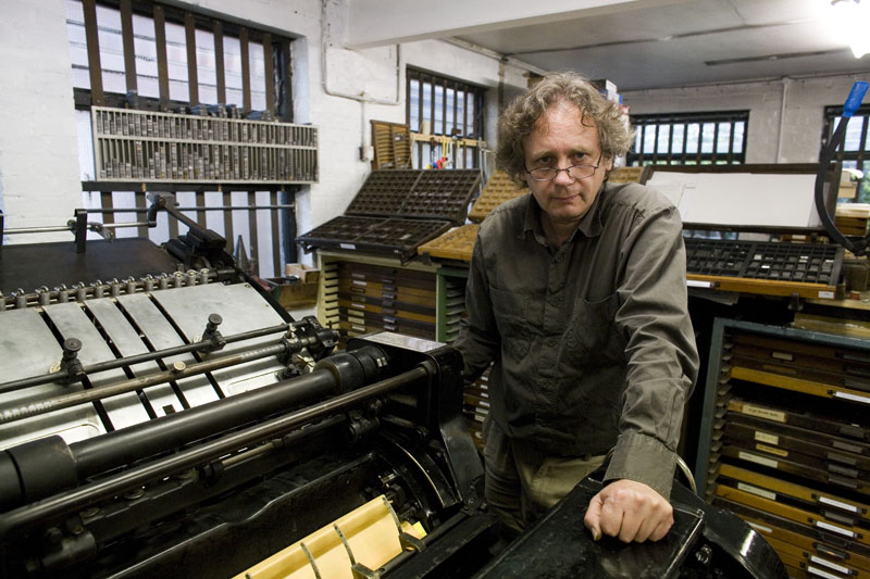 Matt at Paekakariki Press with the Heidelberg press