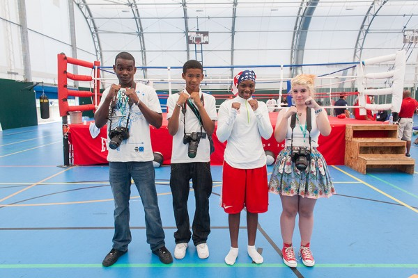 Claressa Shields and teen photography volunteers